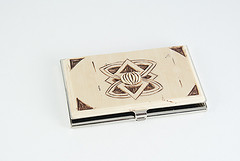 Faux Ivory Carved Business Card Case by Angela Mabray